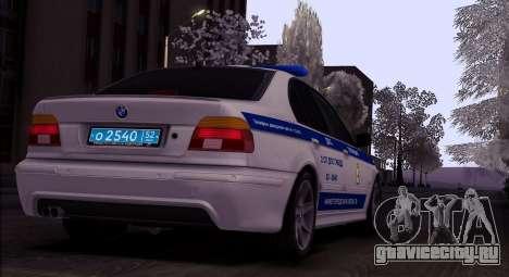 BMW E39 540i Russian Police для GTA San Andreas вид сзади слева