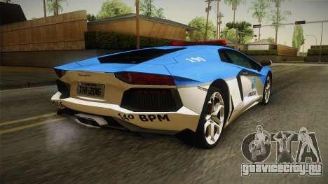 Lamborghini Aventador LP700-4 PMERJ для GTA San Andreas вид сзади слева