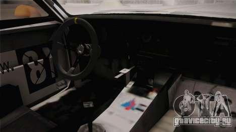 Opel Manta Drift для GTA San Andreas вид изнутри