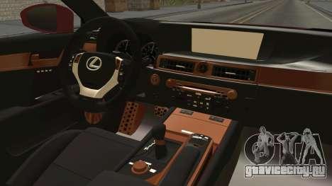 Lexus GS350 F Sport для GTA San Andreas вид изнутри