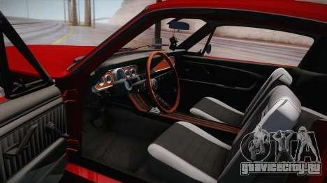 Ford Mustang Fastback 289 Wide Body 1966 для GTA San Andreas вид изнутри