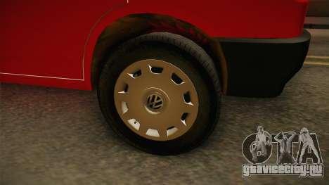 Volkswagen T4 Kombi Vatrogasci для GTA San Andreas вид сзади