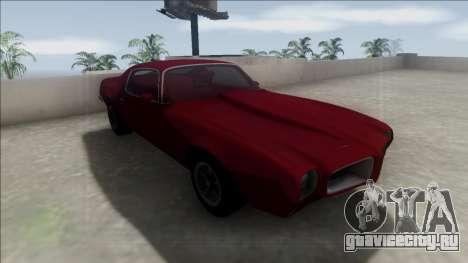 1970 Pontiac Firebird для GTA San Andreas вид изнутри