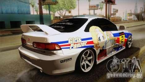 Honda Integra Tipe R Girl und Panzer Itasha для GTA San Andreas вид слева