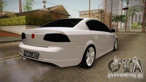 Volkswagen Passat 2011 Beta для GTA San Andreas вид сзади слева