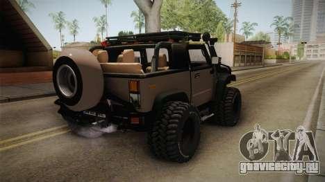 Hummer Wrangler H2 для GTA San Andreas вид сзади слева