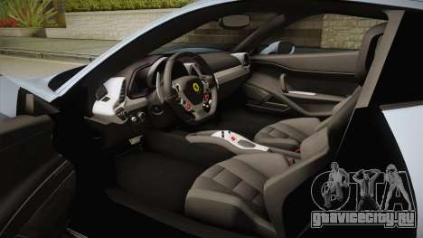Ferrari 458 Italia FBI для GTA San Andreas вид изнутри