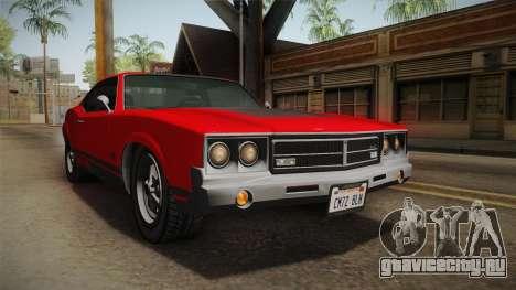 GTA 5 Declasse Sabre GT SA Style для GTA San Andreas вид сзади слева
