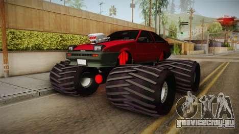 Toyota Corolla GT-S Monster Truck для GTA San Andreas вид сзади слева