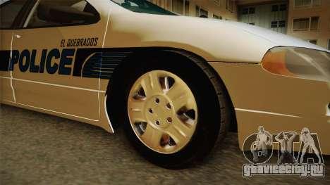 Dodge Intrepid 2001 El Quebrados Police для GTA San Andreas вид сзади