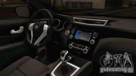 Nissan Qashqai 2016 IVF для GTA San Andreas вид изнутри
