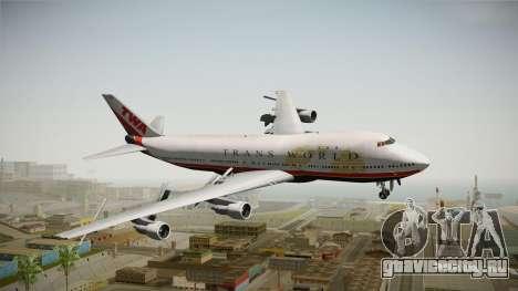 Boeing 747 TWA Final Livery для GTA San Andreas вид сзади слева