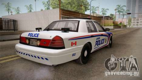 Ford Crown Victoria 2010 London, Ontario PD для GTA San Andreas вид справа