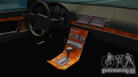 Mercedes-Benz 500SE 1991 Euro-Rat Style для GTA San Andreas вид изнутри