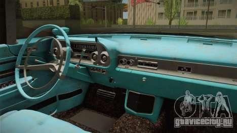 Cadillac Eldorado Brougham 1957 Rusty IVF для GTA San Andreas вид изнутри