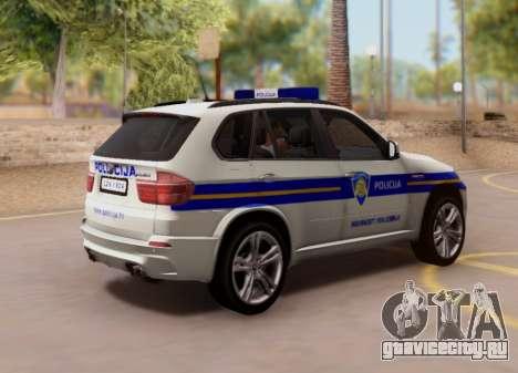 BMW X5 Croatian Police Car для GTA San Andreas вид сзади
