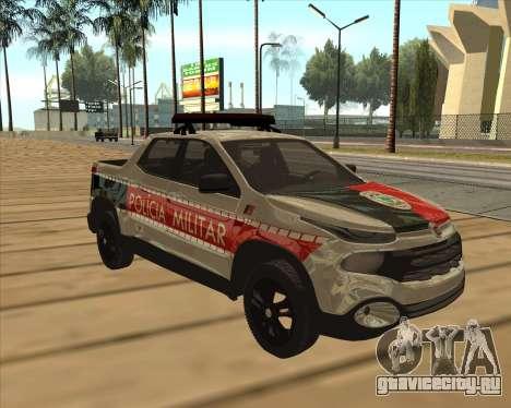 Fiat Toro Police Military для GTA San Andreas вид сбоку