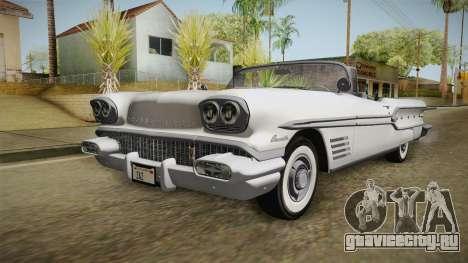Pontiac Bonneville Hardtop 1958 HQLM для GTA San Andreas вид сзади слева