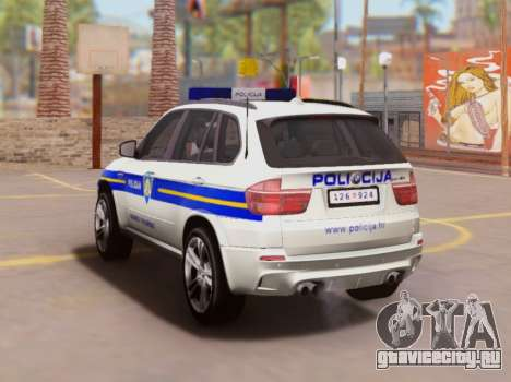 BMW X5 Croatian Police Car для GTA San Andreas вид сзади слева