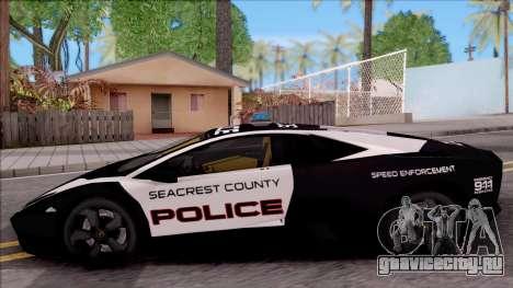 Lamborghini Reventon High Speed Police для GTA San Andreas вид слева