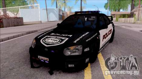 Subaru Impreza WRX STi High Speed Police для GTA San Andreas