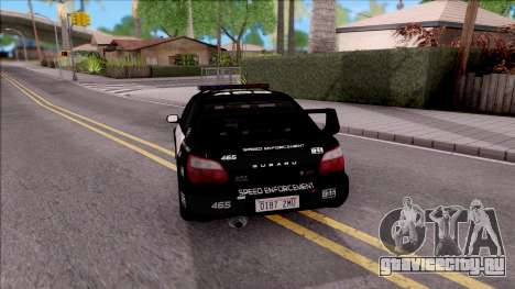 Subaru Impreza WRX STi High Speed Police для GTA San Andreas вид сзади слева
