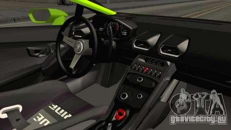 Lamborghini Huracan Rocket Bunny 2014 для GTA San Andreas вид изнутри