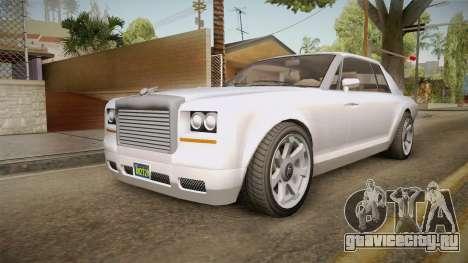 GTA 5 Enus Diamond Coupè для GTA San Andreas вид сзади слева