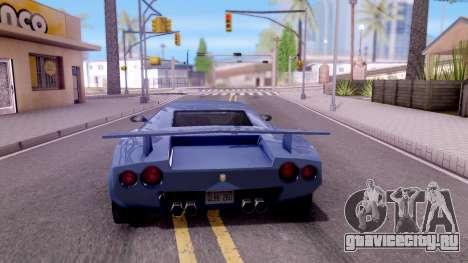 Infernus From Vice City для GTA San Andreas вид сзади слева