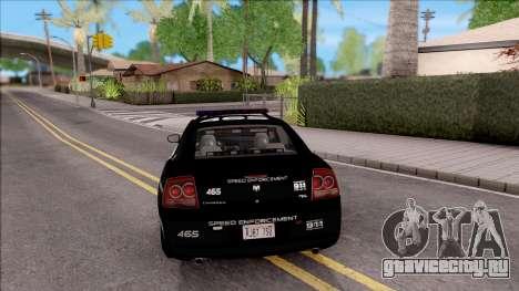 Dodge Charger High Speed Police для GTA San Andreas вид сзади слева