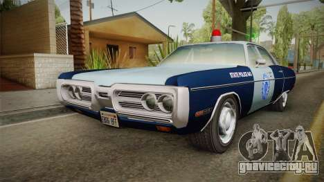 Plymouth Fury 1972 Massachusetts State Police для GTA San Andreas вид сзади слева