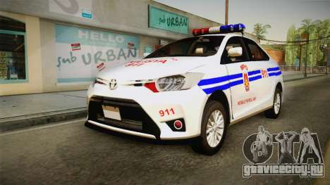 Toyota Vios 2014 Philippine National Police для GTA San Andreas вид сзади слева