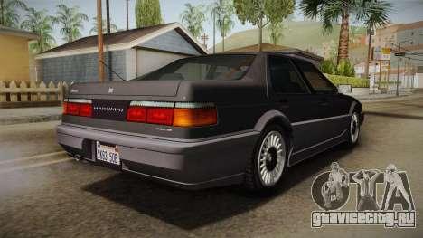 GTA 4 Dinka Hakumai Tuned Bumpers для GTA San Andreas вид сзади слева