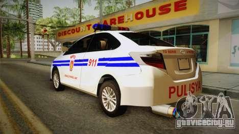Toyota Vios 2014 Philippine National Police для GTA San Andreas вид слева