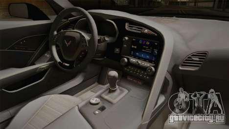Chevrolet Corvette Stingray Z06 для GTA San Andreas вид изнутри