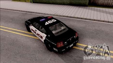 Dodge Charger High Speed Police для GTA San Andreas вид сзади