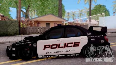 Subaru Impreza WRX STi High Speed Police для GTA San Andreas вид слева