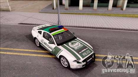 Ford Mustang Shelby GT500 Dubai HS Police для GTA San Andreas вид справа
