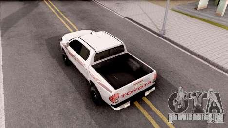 Toyota Hilux 2016 для GTA San Andreas вид сзади