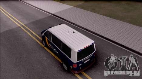 Volkswagen Transporter Spanish Police для GTA San Andreas вид сзади