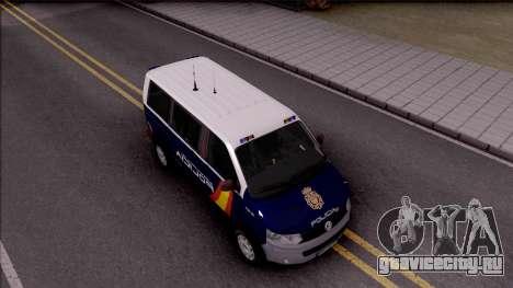 Volkswagen Transporter Spanish Police для GTA San Andreas вид справа