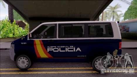 Volkswagen Transporter Spanish Police для GTA San Andreas вид слева
