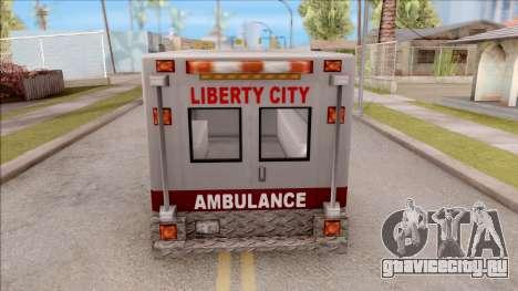 Amblulance From GTA 3 для GTA San Andreas вид сзади слева