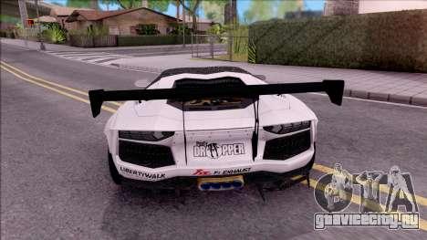 Lamborghini Aventador LP700-4 LB Walk Custom для GTA San Andreas вид сзади слева