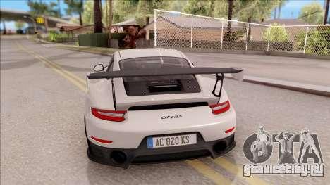 Porsche 911 GT2 RS 2017 EU Plate для GTA San Andreas вид сзади слева