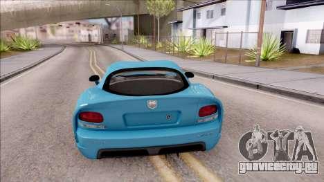 Dodge Viper SRT-10 для GTA San Andreas вид сзади слева