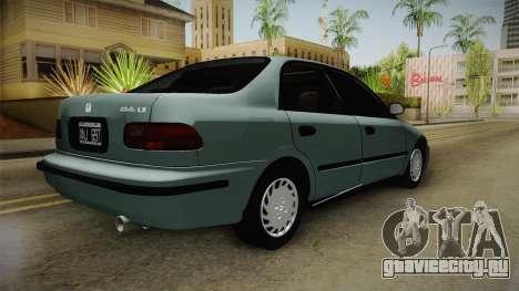 Honda Civic 1.5 LX 1995 для GTA San Andreas вид сзади слева