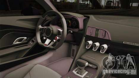 Audi R8 Vorsteiner для GTA San Andreas вид изнутри