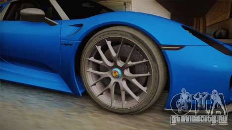 Porsche 918 Spyder Weissach Package 2015 для GTA San Andreas вид сзади