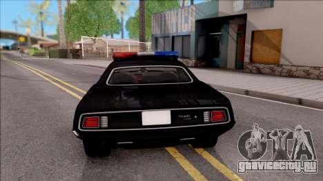 Plymouth Hemi Cuda 426 Police LVPD 1971 v2 для GTA San Andreas вид сзади слева